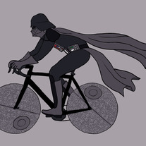 Darth Vader riding bike with death star wheels. 5x7 print