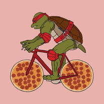 Rafale on bike with pizza wheels, 5x5 print