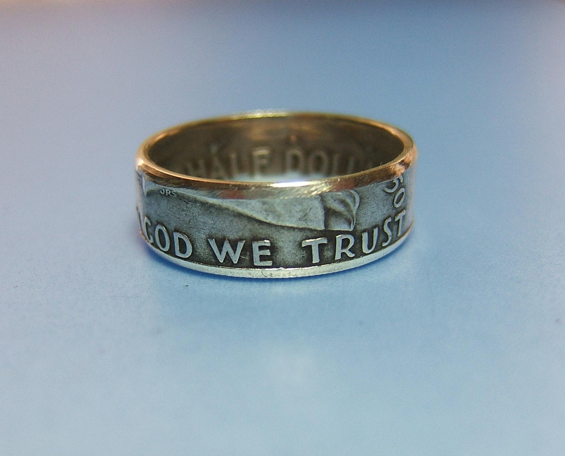 silver coin ring ben franklin half dollar 183 wv