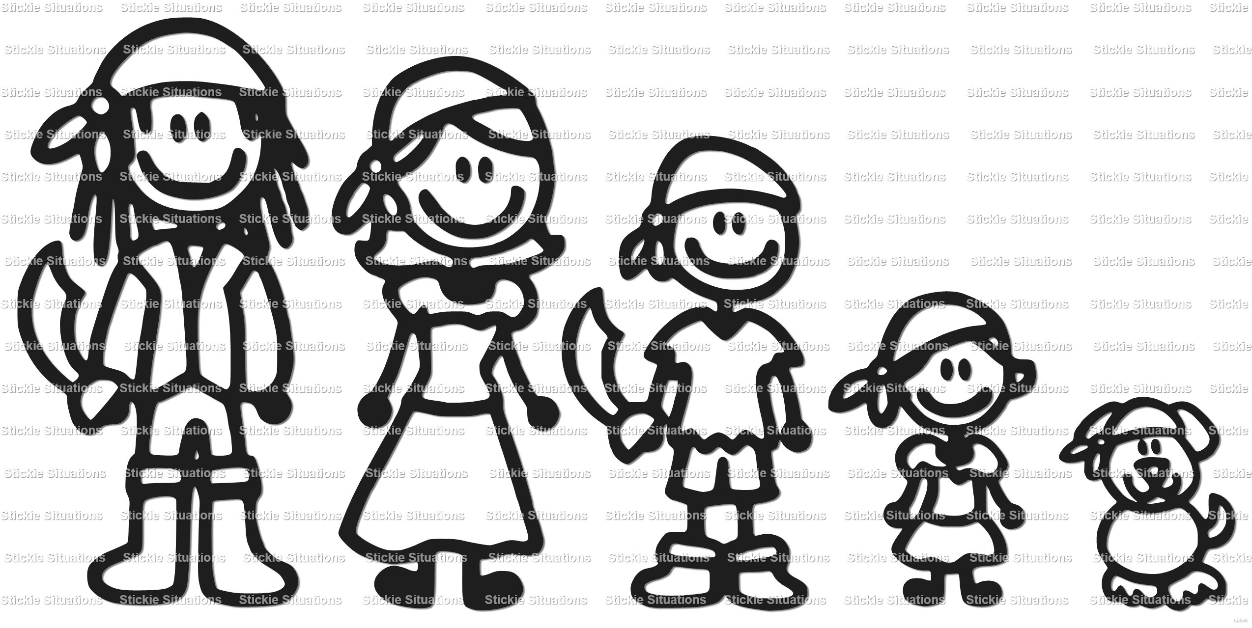 Pirate Family Car Decal Design   Stickie Situations  Online - Design car decals online