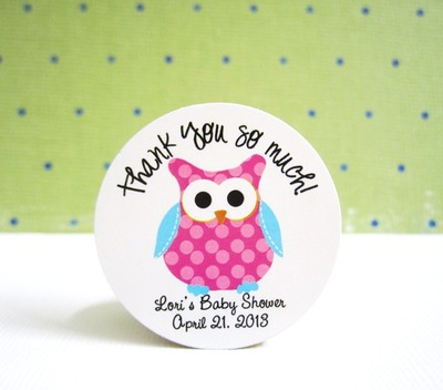 Pink Polkadot Owl with Turquoise Wing Stickers, Personalized