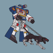 Soundwave walking Ravage, 8x8 print