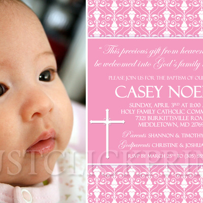 Boys Blue Brown Baptism Dedication Christening Photo Invitation
