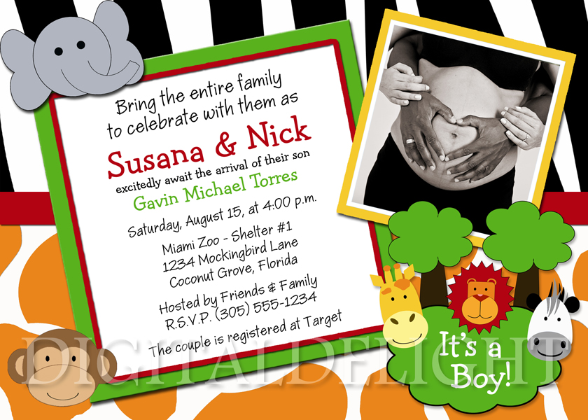 Safari Jungle Friends Baby Shower Ultrasound Photo Invitation Just