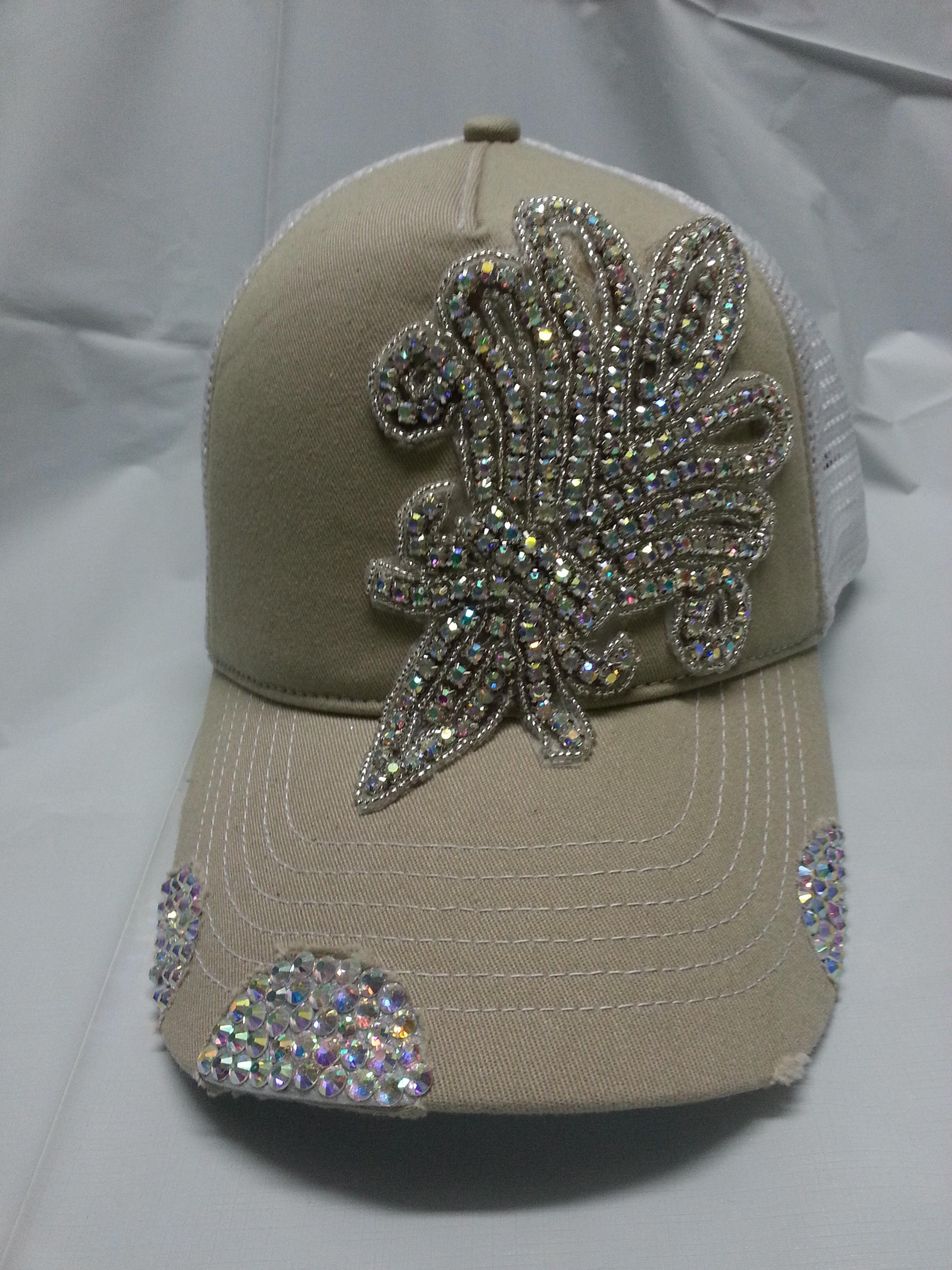 c686ab22c12d7 Envy Khaki   White Fleur Bling Rhinestone Trucker Hat on Storenvy