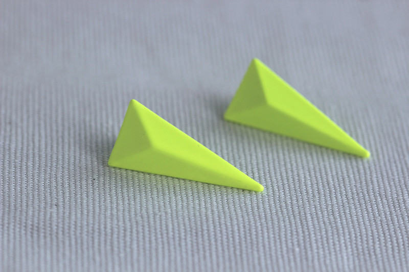 be74323290fa0 Neon Pop Street Style Inspiration Triangle Earring/Studs Light Yellow from  SparkleUrLife