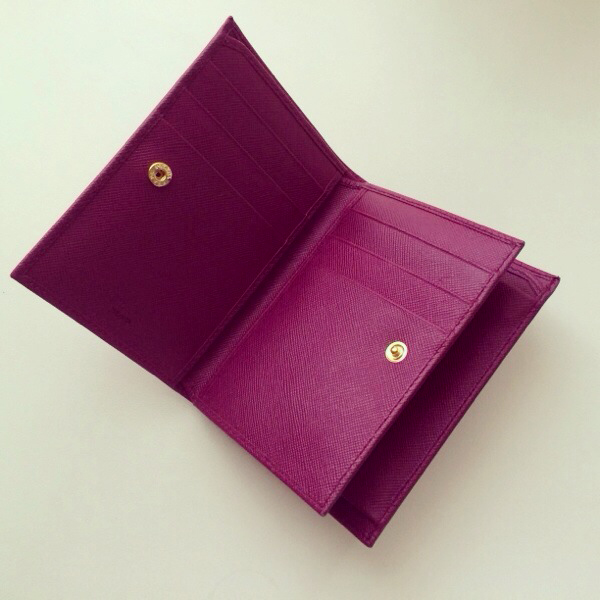 7fab5e9902f4 the little green suitcase | PRADA Saffiano Ametista Bi-Fold Wallet ...