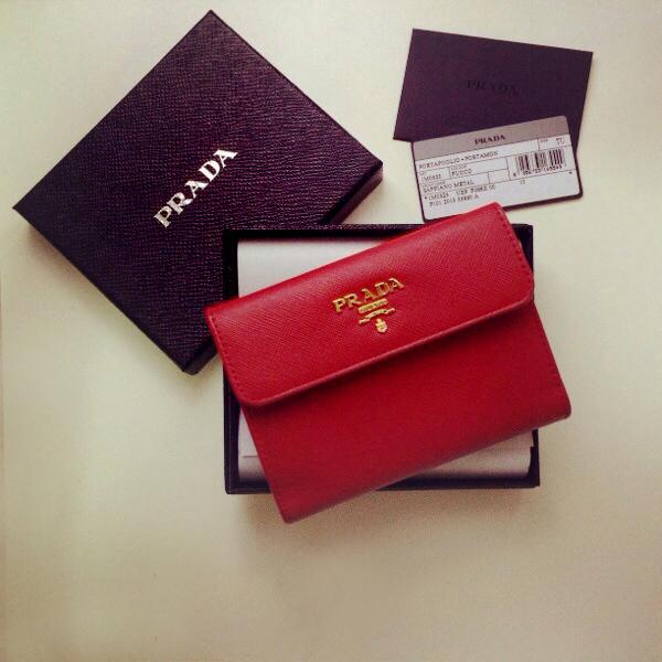4f1f7e7997a7 PRADA Saffiano Fuoco Bi-Fold Flap Wallet on Storenvy