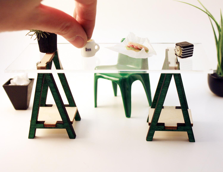 Miniature Ikea Inspired Vika Desk Kit For 1 12 Scale