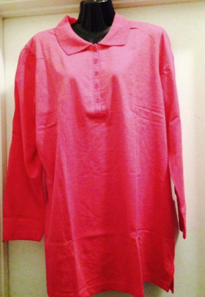 c5f60db37f9 Pink long sleeve polo shirt ~ plus size 1x
