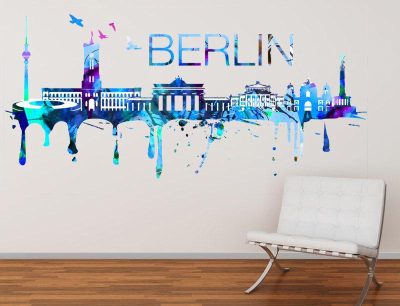 Berlin skyline watercolor city art print decal