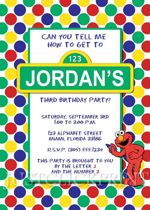 Sesame Street Elmo Birthday Invitation Printable