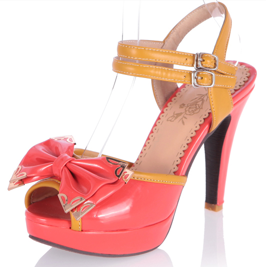 398b8cdcb Red orange sweet bow sandals