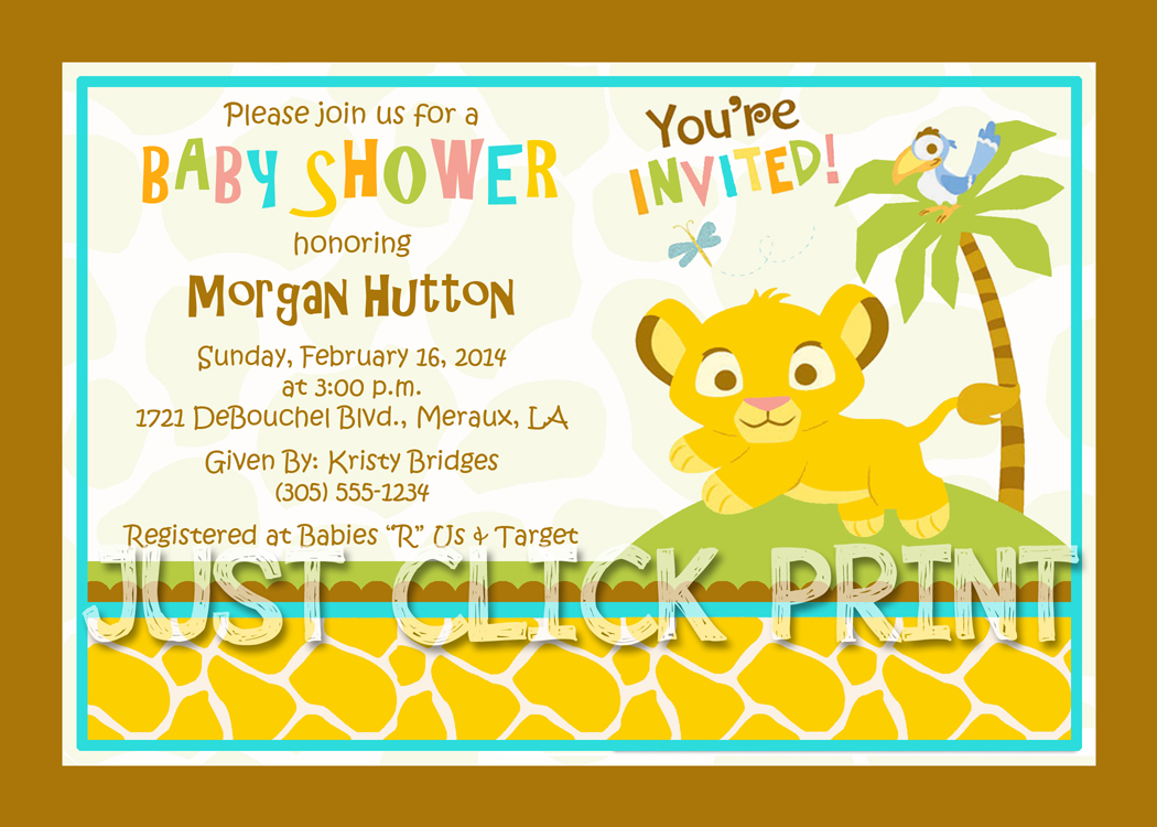 Simba Lion King Baby Shower Invitation Printable Just Click Print