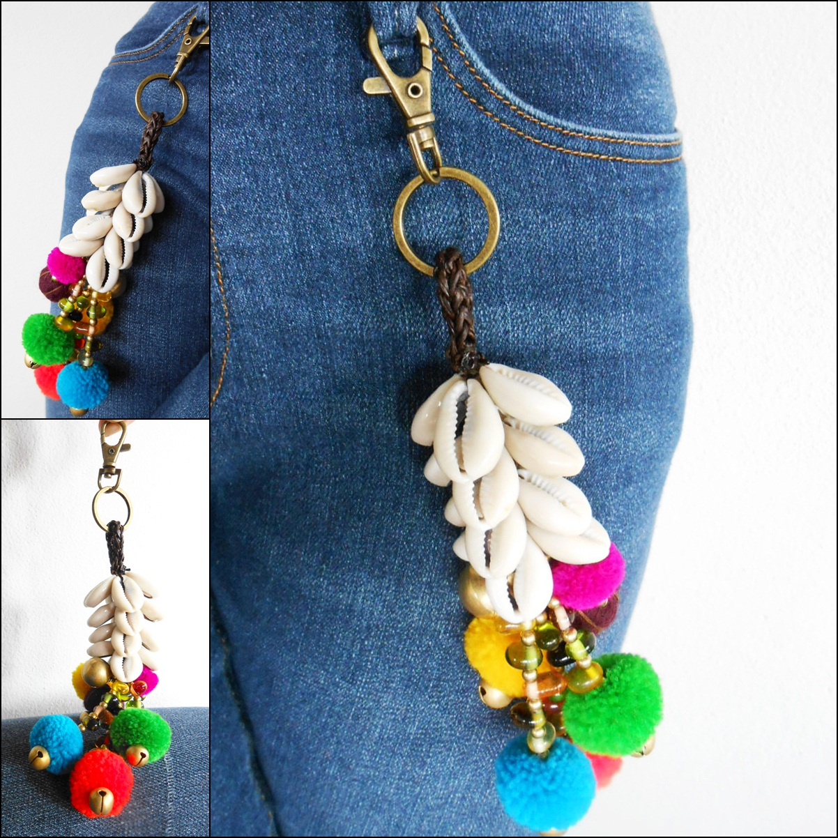 Hmong Shell Keychain with Colorful Pom poms & Brass Bells Holder, Zip Pull  Bag Accessories Handmade  (AC1066) from Golden World