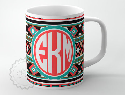 Personalized Front License Plates >> Personalized Coffee Cup - Aztec pattern, Southwestern ...