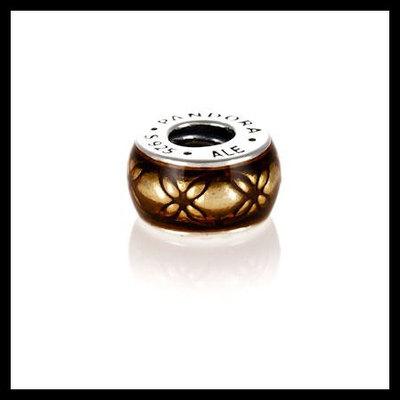 39a906f91 Authentic pandora vintage golden enamel spacer .925 sterling silver  european charm bead - item no