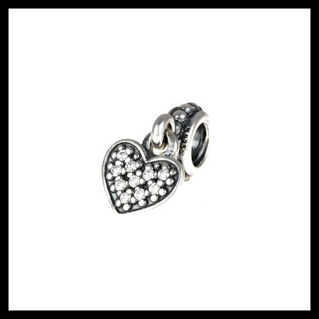 "58698f703 AUTHENTIC PANDORA ""Pave Heart Dangle"" Clear CZ .925 Sterling  Silver European Charm"