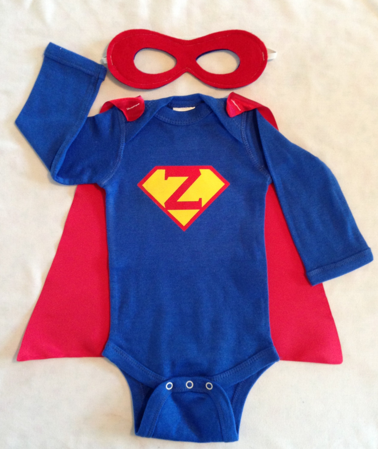 Personalized Superman or Superwoman Superhero Baby Outfit with Detachable Satin Cape and Reversible Mask Super  sc 1 st  Just Kidu0027n! Designs LLC - Storenvy & Personalized Superman or Superwoman Superhero Baby Outfit with ...