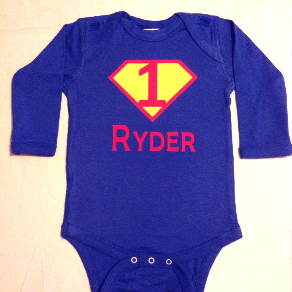 First Birthday Personalized Superhero Baby Bodysuit Custom Shirt Super Hero