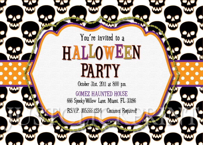 spooky skulls halloween party invitation printable just click