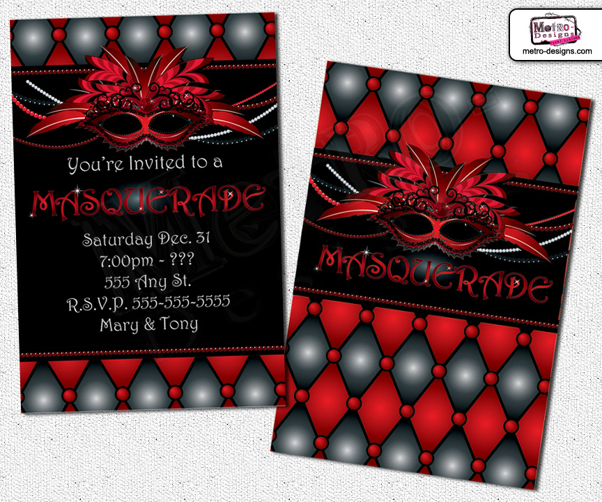 Masquerade Invitations Invitation Sweet 16 Sixteen Adult Party From