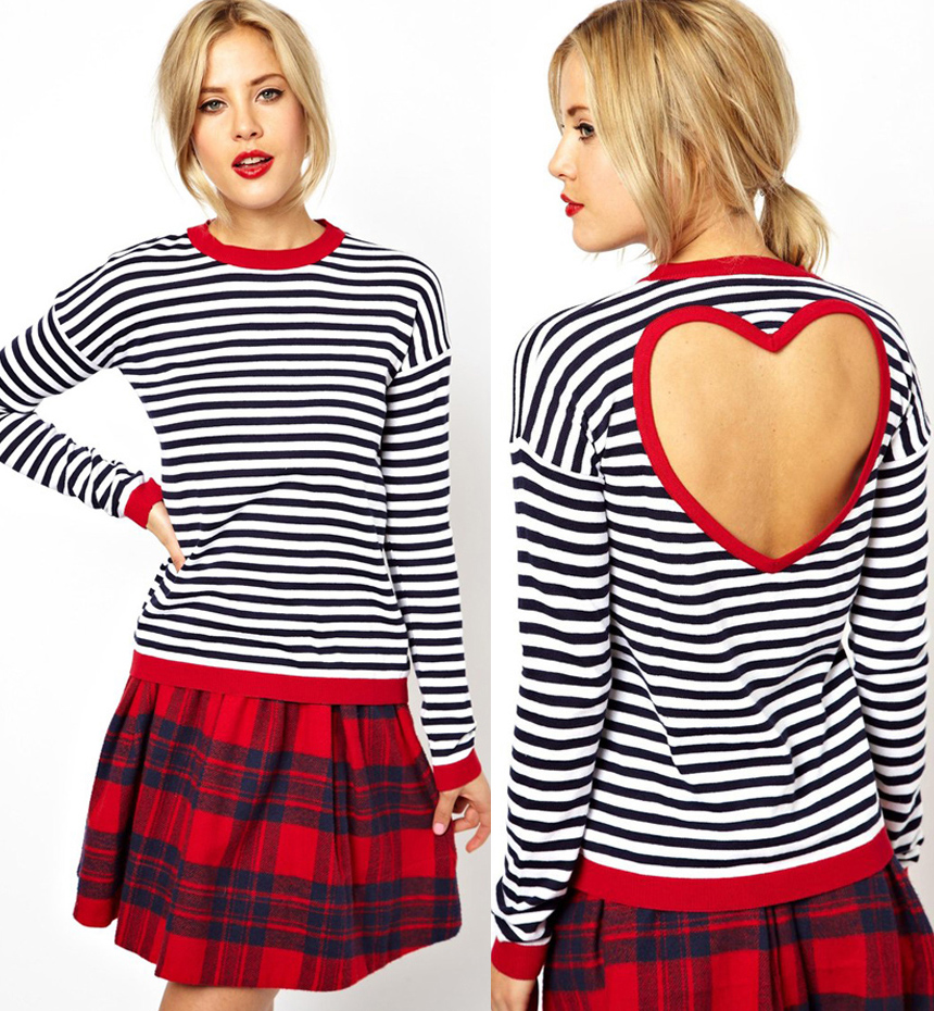 177215622e3 Clearance Sale - Heart Cut Out Back Stripes Long Sleeves T-shirt on Storenvy