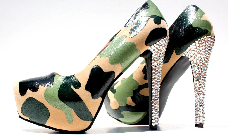 a828c0b90ed Camo Heels with Swarovski Crystal Heel or Camouflage Platform Pumps ...