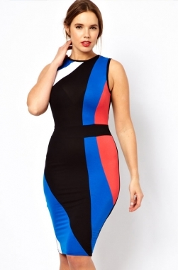 Plus Size Color Block Midi Bodycon Dress · Be You Boutique ...
