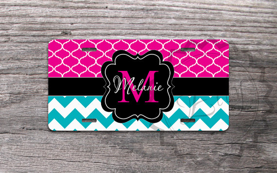 personalized license plate - turquoise chevron, magenta trellis and