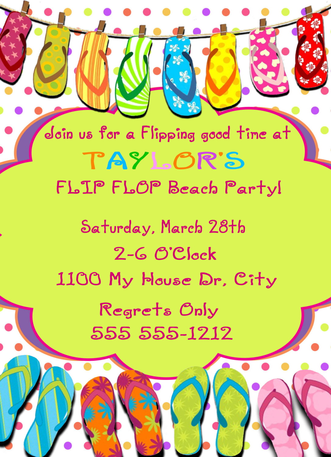 Flip Flops Pool Personalized Birthday Invitation 1 Sided Card Party