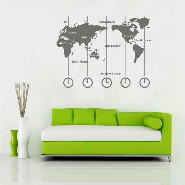 Removable Vinyl World Map Wall Decal Time Wall Art Clock Wall