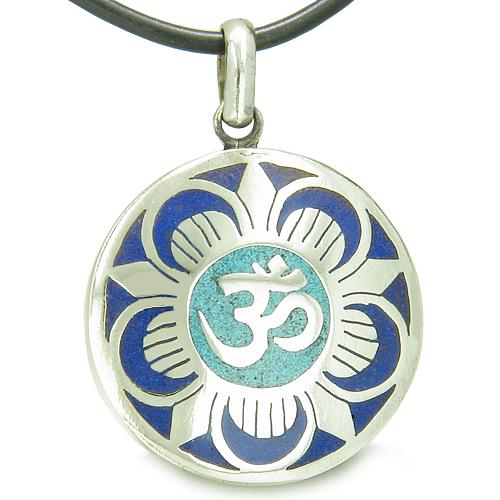 Amulet Ancient Om And Magic Lotus Tibetan Symbol Lapis Lazuli