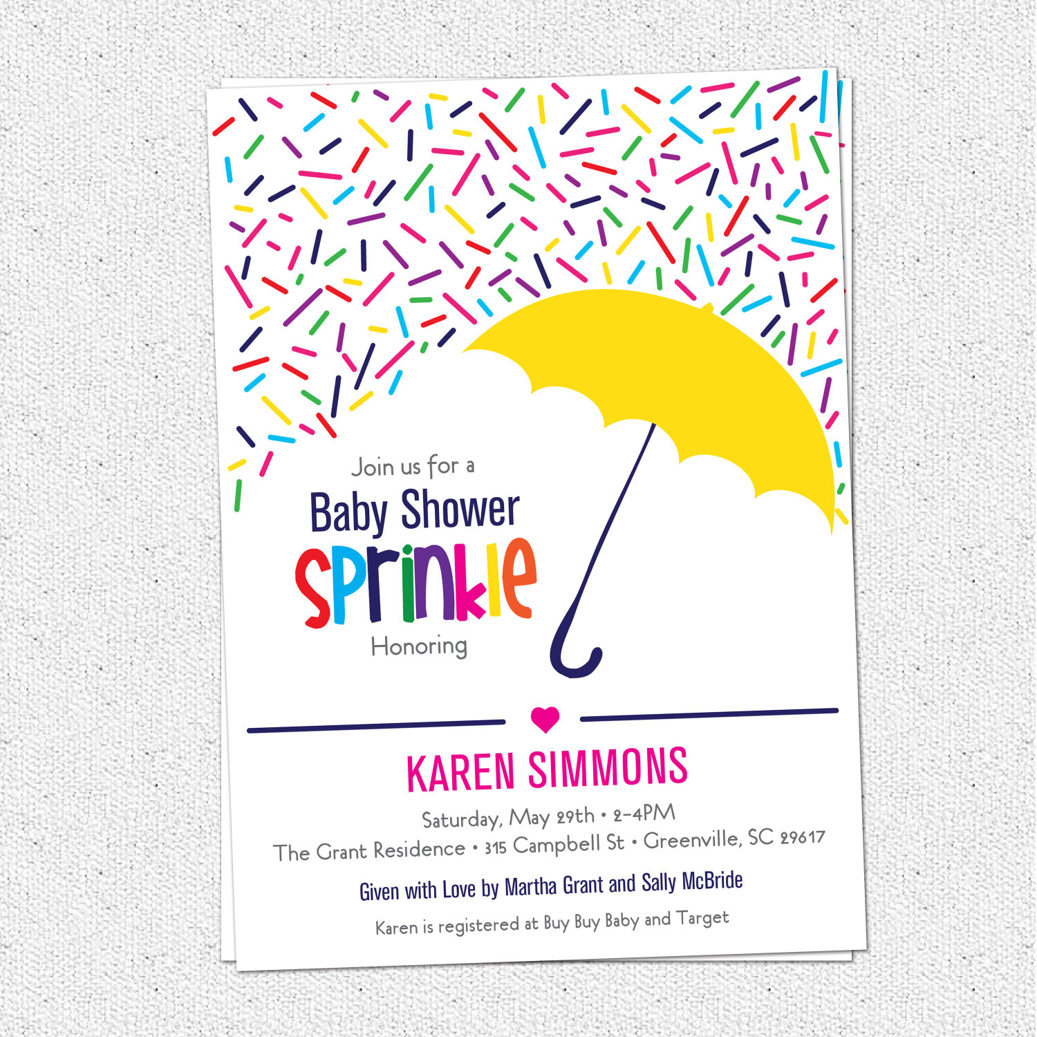 sprinkle baby shower invitations raining rainbow sprinkles and