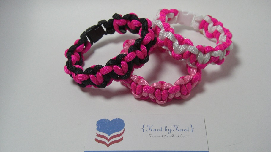 Hearts Love Locked Paracord Bracelet In Hot Pink Color Combination Of Your Choice Military Athletic Style