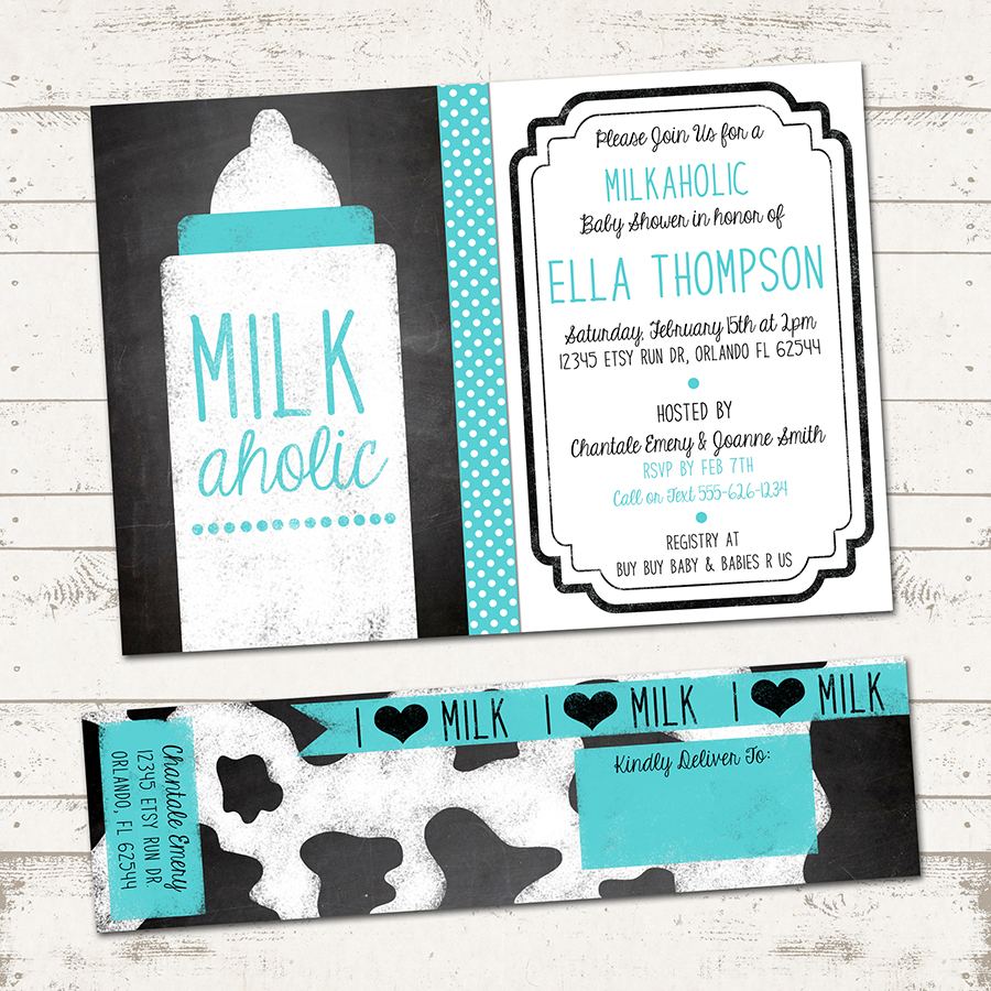 Milkaholic Baby Shower Invitation