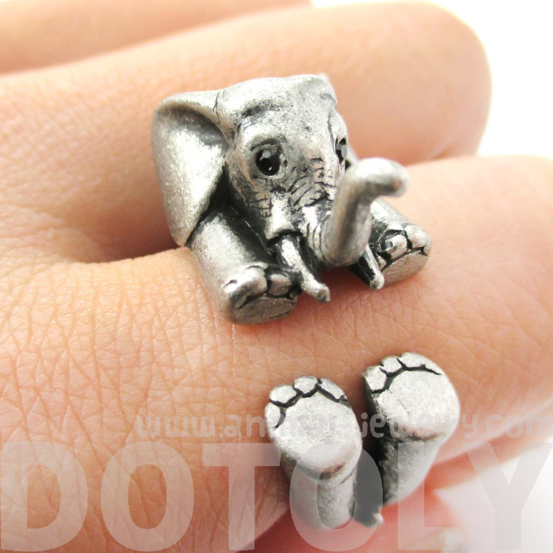 3d Baby Elephant Animal Wrap Around Ring In Silver Size