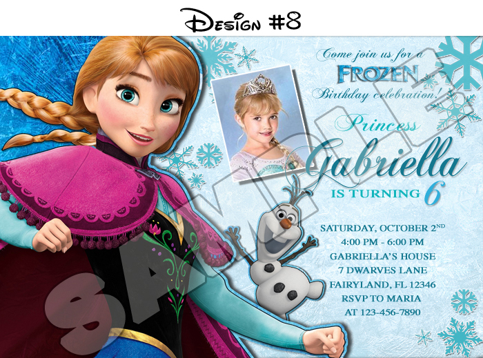 photograph about Frozen Invitations Printable identified as Frozen Birthday Get together Picture Invites - Printable