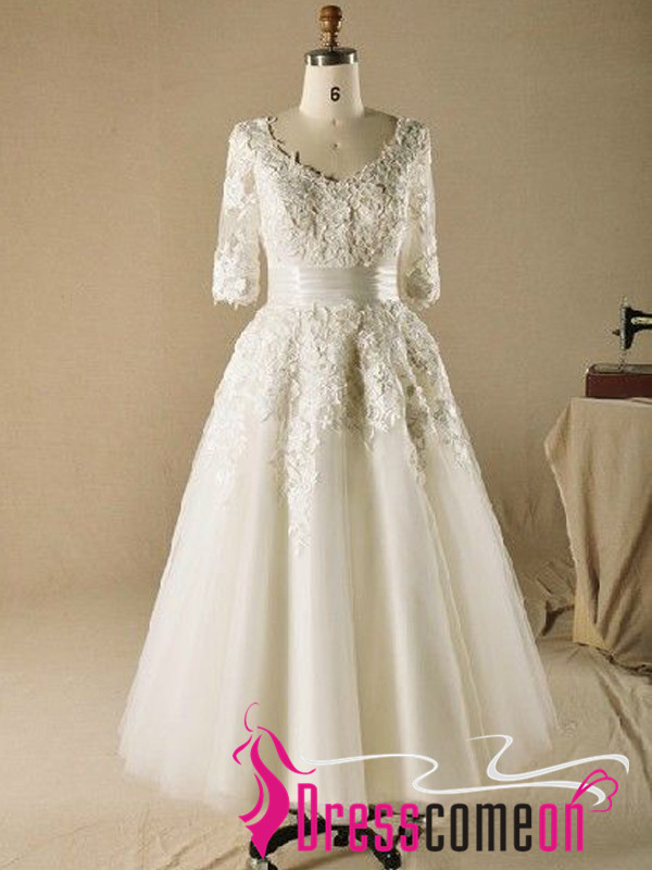 Special Dress!Custom Made Ball Gown V-neck Plus Size Tea Length Wedding  Dresses With Sleeves Beach Wedding Gowns,Bridal Gown from Dresscomeon