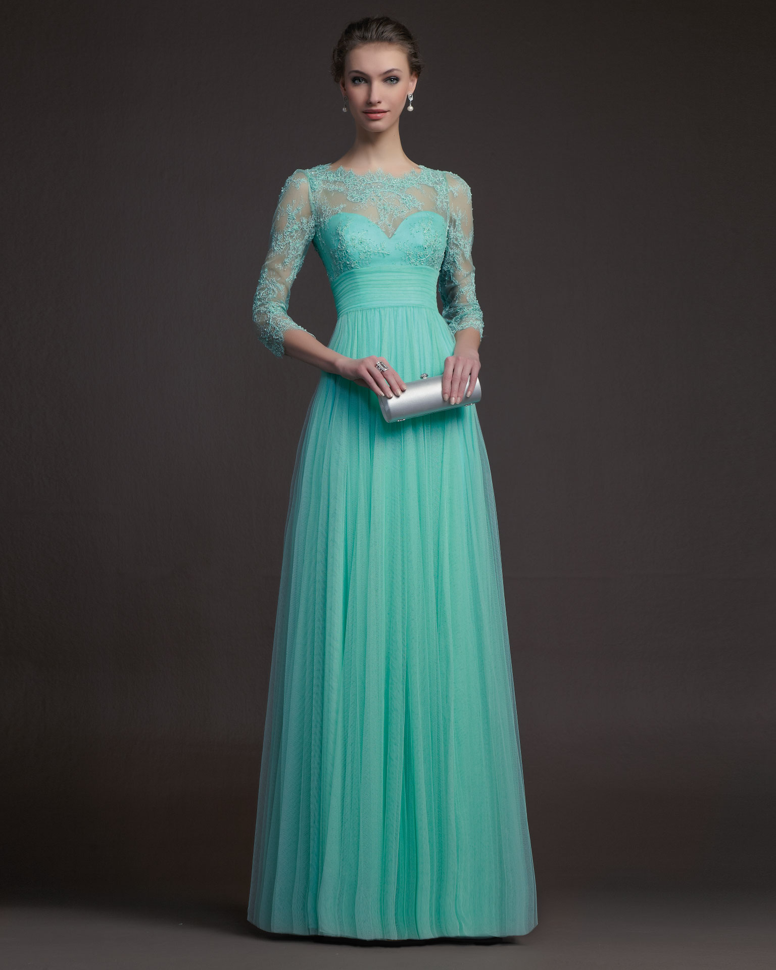 elegant lace with 3/4 sleeve modest Evening dresses Prom dresses ...