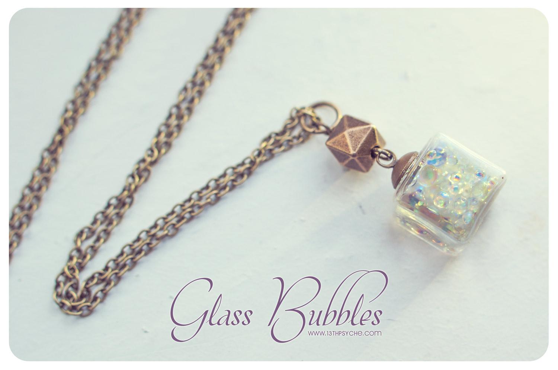 Popular Glass cube necklace, bubbles necklace, glass necklace, glass  DV29