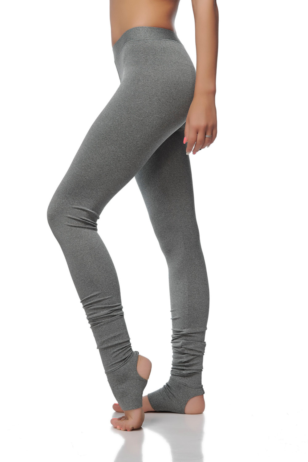 f2883238c Extra Long Gray Leggings - Special Dance and Yoga Leggings with Spats -  Soft Gray Women  ...