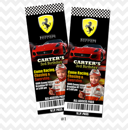 Ferrari Invitation F1 Party Invitation Ticket on Storenvy