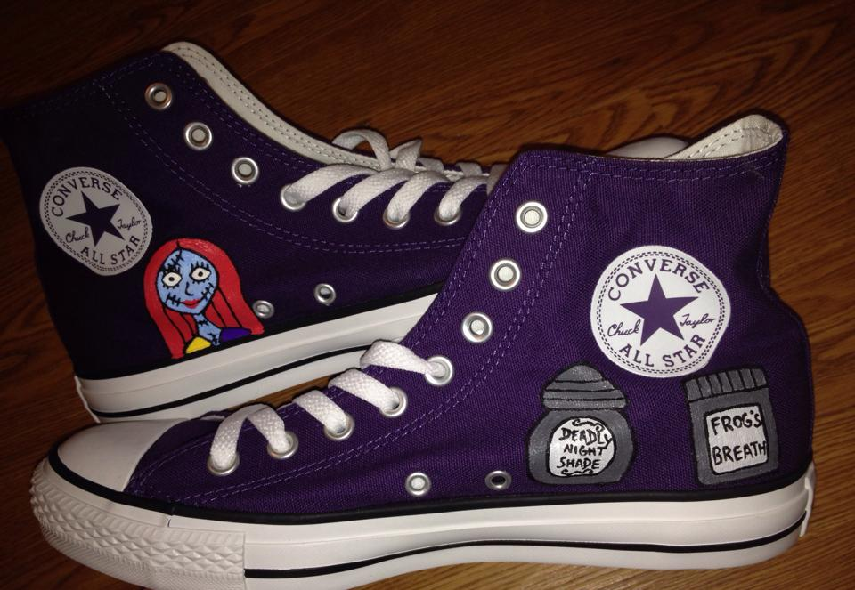 b57a99a78487 ... Sally Nightmare Before Christmas Hand Painted Custom Converse -  Thumbnail 2