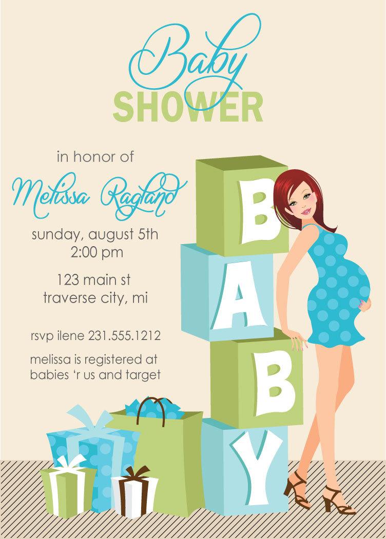 Blocks Baby Shower Invitations - Boy Baby Shower Invites African ...