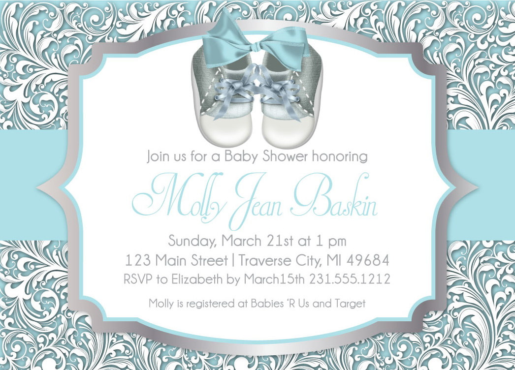 picture regarding Printable Baby Boy Shower Invitations referred to as Little one Shower Invitation - Boy Kid Shower Sneakers - Printable offered as a result of Announce It!