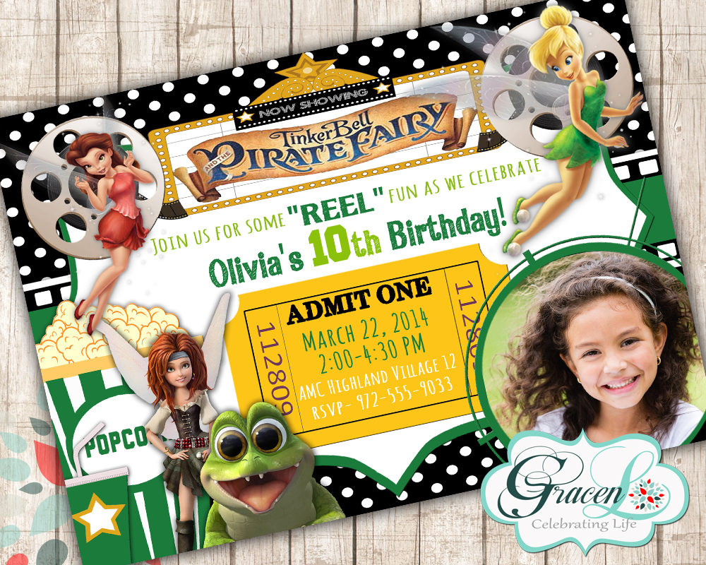 Tinker Bell And The Pirate Fairy Inivitation Tinker Bell Invitation