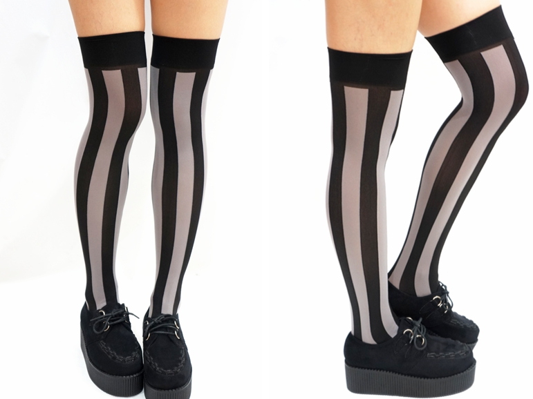 55b6cff43 Vertical Striped Pastel Goth Thigh high Stockings- Grey Black ...