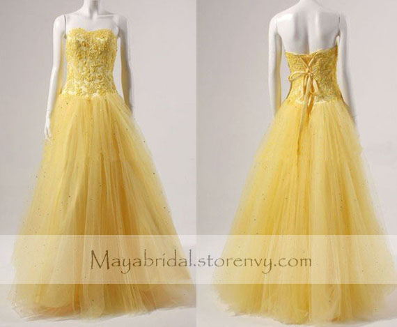 Applique bodice yellow tulle prom dress formal dress evening dress