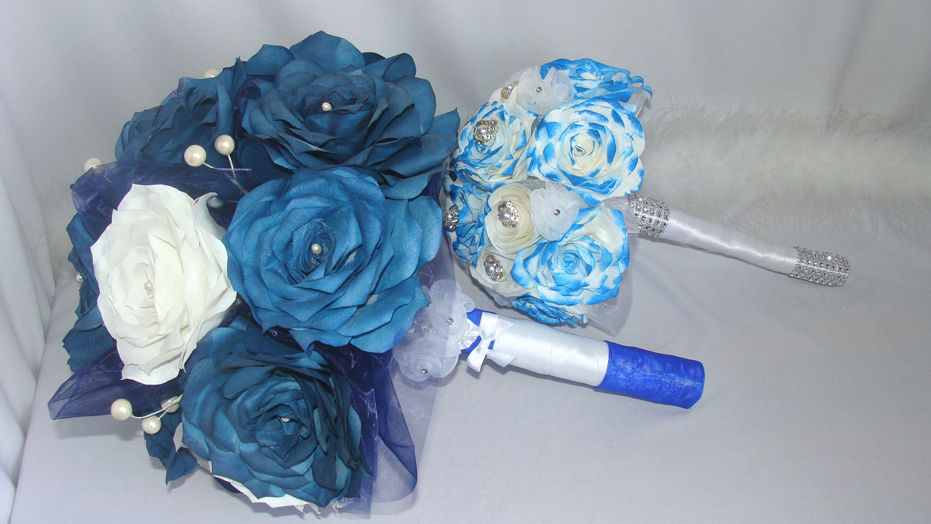Navy Blue Bouquet Bridal Bouquets Wedding Bouquets Paper Bouquets